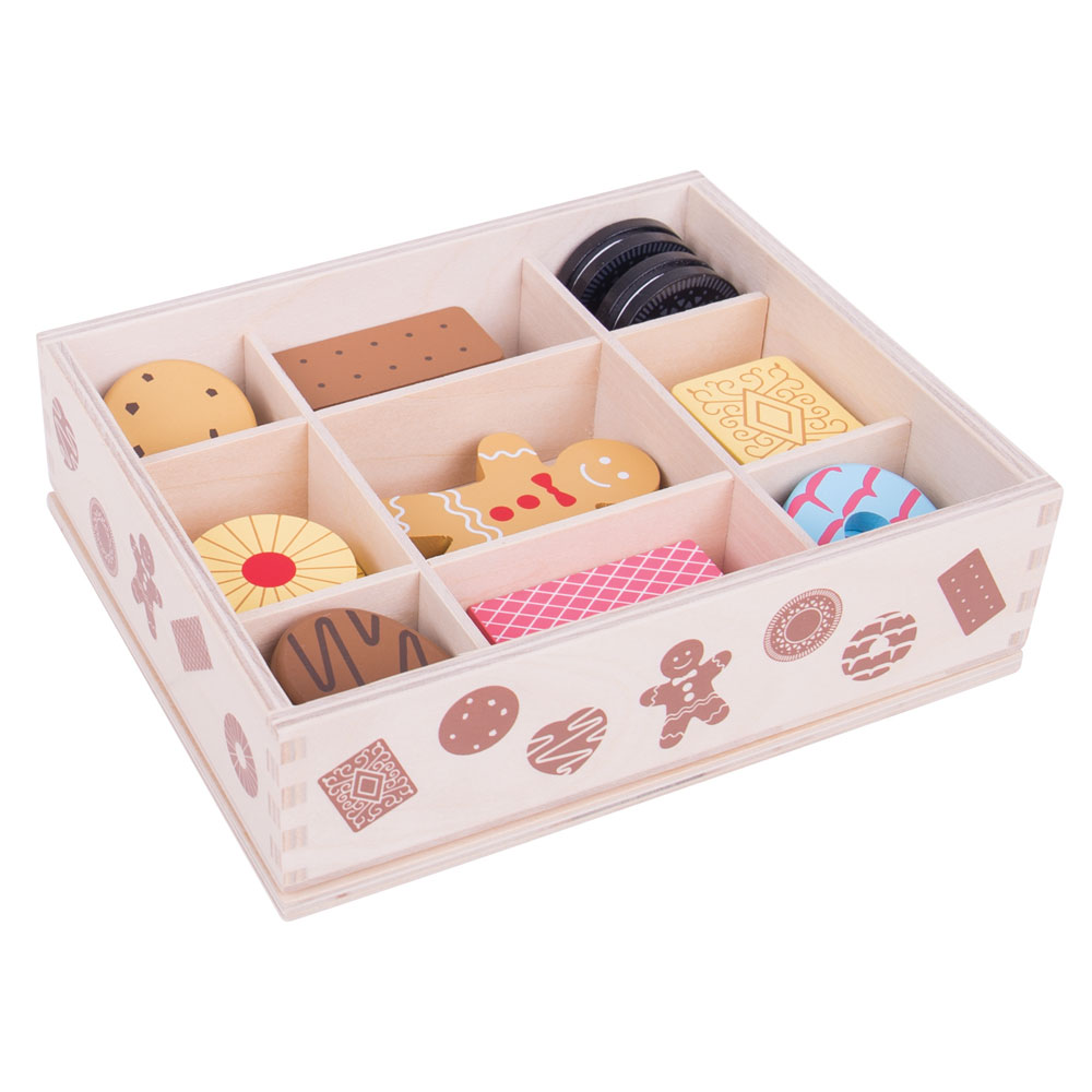 Bigjigs Toys Wooden Biscuit Box & Assorted Wooden Biscuits - Pretend Play Toys | eBay