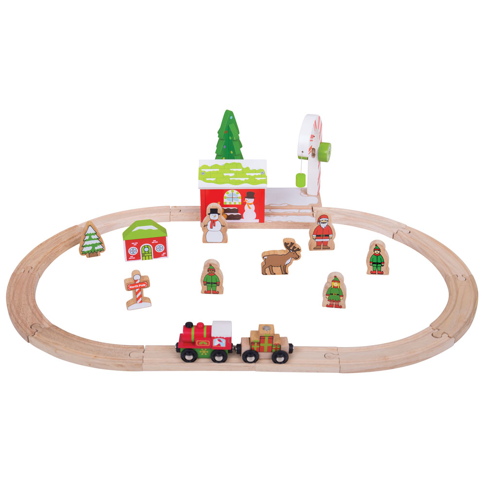 Bigjigs rail christmas wooden winter wonderland toy train set